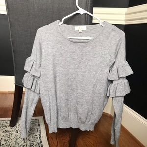 Nasty Gal JCL M/LGray Ruffle Sleeve Sweater